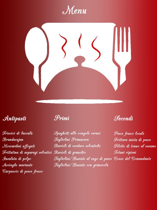 menu ristorante imperia