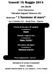 Venerdì 16 maggio 2014 ore 20.30 - Serata Degustazione - Ristorante Anemone di Mare Imperia cucina tipica ligure
